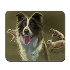 Border Collie with Sheep Mousepad