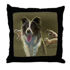 Border Collie with Sheep Throw Pillow