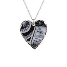 0562-clarinet Necklace Heart Charm
