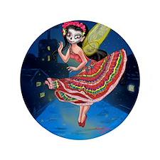 """Mariachi Fairy with Dia de los Muertos 3.5"""" Button"""