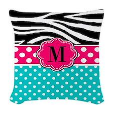 Pink Blue Dots Zebra Monogram Woven Throw Pillow