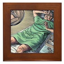 Vasectomy fear, conceptual artwork Framed Tile