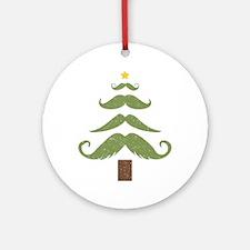 Mustache Tree Round Ornament