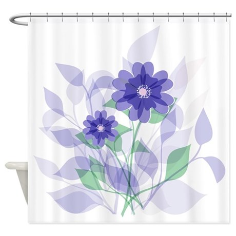 Modern Artistic Purple Blue Floral Shower Curtain By Auslandgifts