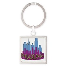 Philly Skyline Newwave Cool Square Keychain