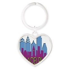 Philly Skyline Newwave Cool Heart Keychain