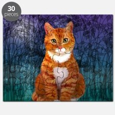 Orange Tabby Cat Snowflake Ornament Puzzle
