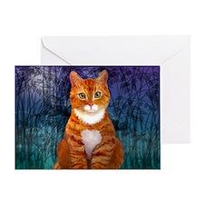 Orange Tabby Cat Snowflake Ornament Greeting Card