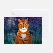 Orange Tabby Cat Snowflake Ornament Greeting Card