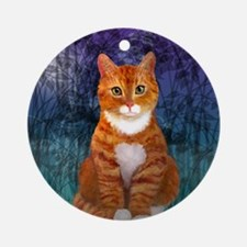 Orange Tabby Cat Snowflake Ornament Round Ornament