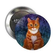 "Orange Tabby Cat Snowflake Ornament 2.25"" Button"