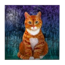 Orange Tabby Cat Snowflake Ornament Tile Coaster