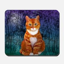 Orange Tabby Cat Snowflake Ornament Mousepad