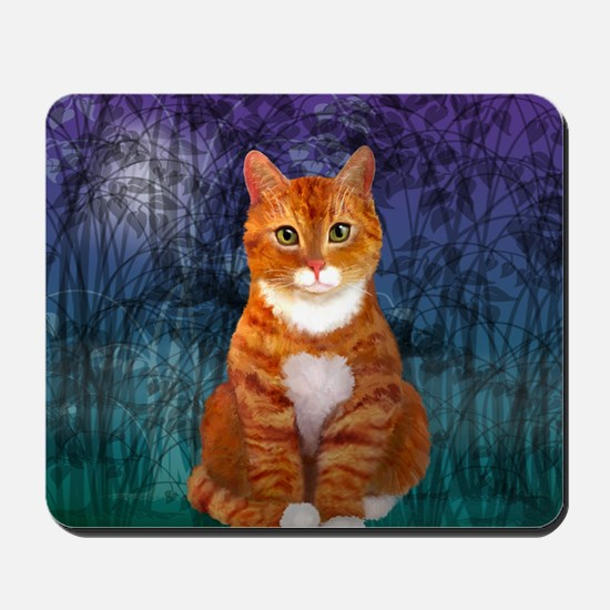 Orange Tabby Cat Snowflake Ornament Mousepad