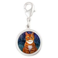 Orange Tabby Cat Snowflake Orn Silver Round Charm
