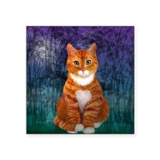 "Orange Tabby Cat Snowflake  Square Sticker 3"" x 3"""