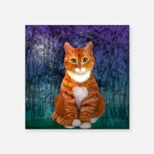 "Orange Tabby Cat Snowflake  Square Sticker 3"" x 3"""