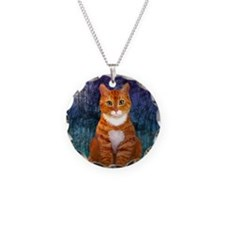 Orange Tabby Cat Snowflake O Necklace