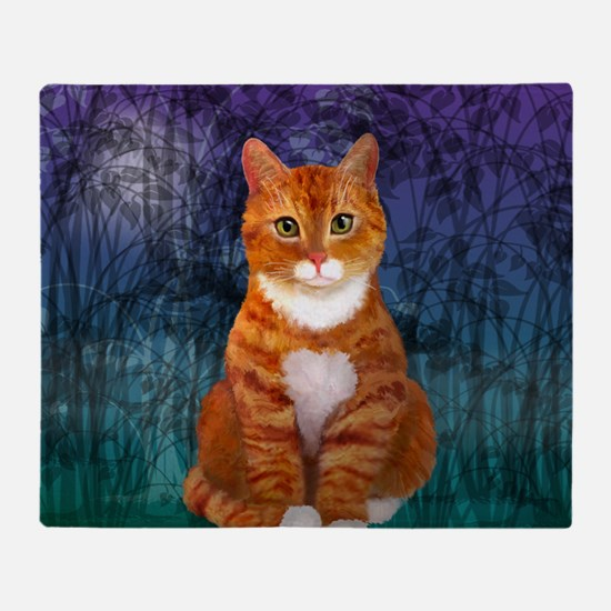 Orange Tabby Cat Snowflake Ornament Throw Blanket