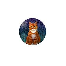 Orange Tabby Cat Snowflake Ornament Mini Button