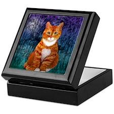 Orange Tabby Cat Snowflake Ornament Keepsake Box