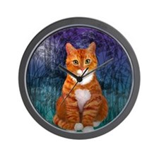 Orange Tabby Cat Snowflake Ornament Wall Clock