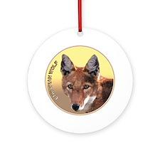 Ethiopian Wolf Round Ornament