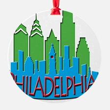 Philly Skyline Newwave Primary Ornament