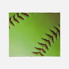 Optic yellow fastpitch softball Throw Blanket