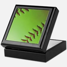Optic yellow fastpitch softball Keepsake Box