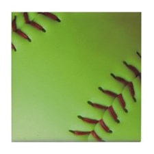 Optic yellow fastpitch softball Tile Coaster