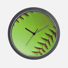 Optic yellow fastpitch softball Wall Clock