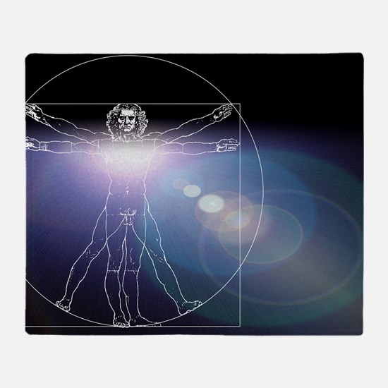 Vitruvian man with flare in chest Throw Blanket