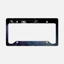Vitruvian man with flare in c License Plate Holder