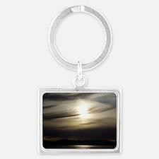 Grey Sunset Landscape Keychain
