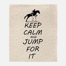 Keep Calm and Jump For It Horse Throw Blanket
