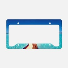 Woman looking at the sea License Plate Holder
