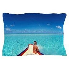 Woman looking at the sea Pillow Case