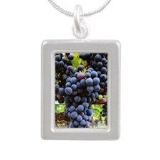Wine Silver Portrait Necklace