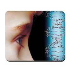 Young child's face and DNA molecule Mousepad