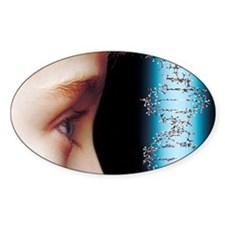 Young child's face and DNA molecule Decal