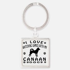 Canaan Dog designs Square Keychain