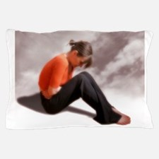 Woman holding her abdomen in pain Pillow Case