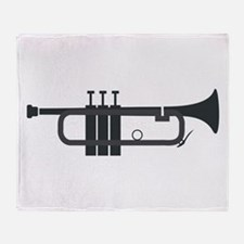 Trumpet Silhouette Throw Blanket