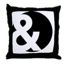 Ampersand Circle Black Throw Pillow
