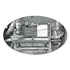 Artist drawing a lute Decal