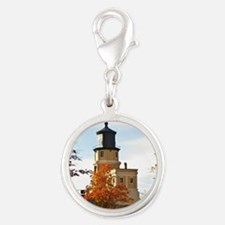 Split Rock Lighthouse Silver Round Charm