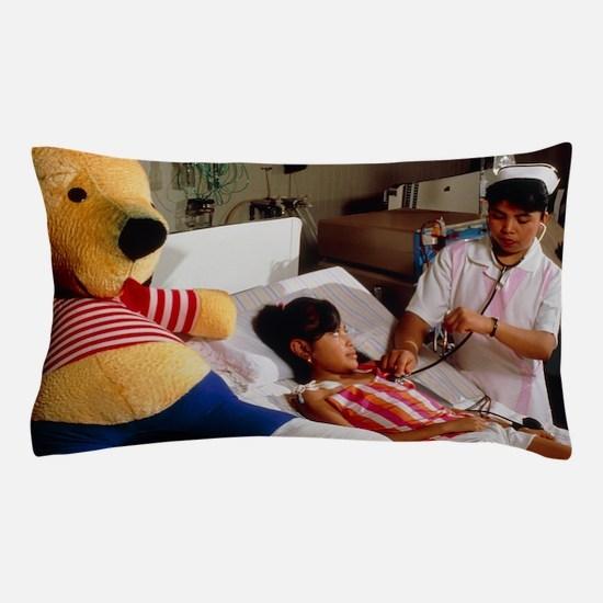Young girl undergoing renal dialysis Pillow Case