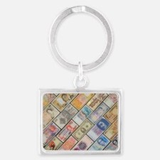 Bank notes of various nationali Landscape Keychain