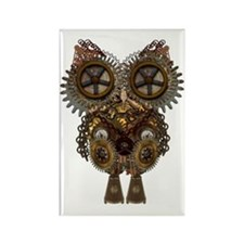 Steampunk Metallic Owl Rectangle Magnet